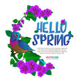 spring season frame witn exotic bird sitting on a vector image