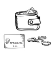Credit card wallet with money and coins sketch vector image