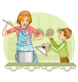 Mother and son tests food in the kitchen vector image
