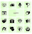 14 happy filled icons set isolated on white vector image vector image