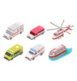 ambulance icon set isometric style vector image vector image