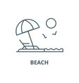 beach line icon beach outline sign vector image vector image