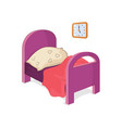 bedroom and furniture of girl vector image vector image