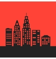 black city landscape on red background vector image
