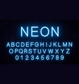 blue neon english letters vector image