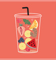 cartoon cup with cold drink vector image