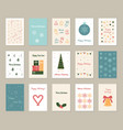 christmas greeting card set isolated on white vector image