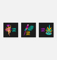 collection square mardi gras cards decorated by vector image vector image