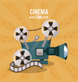 colorful poster of cinema time with movie film vector image vector image
