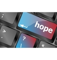 Computer keyboard with hope key keyboard keys vector image vector image