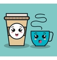 cup coffee plastic facial expression isolated icon vector image vector image