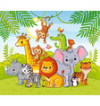 cute african animals stand among savannahs vector image vector image