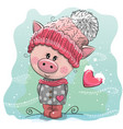 cute cartoon pig in a knitted cap vector image vector image