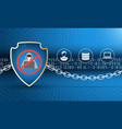 data protection shield with chain vector image vector image