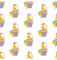 easter chicken in basket seamless pattern vector image vector image