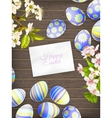 Easter eggs on wooden background EPS 10 vector image vector image