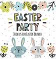 easter party invitation with cute bunnies vector image