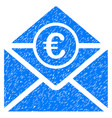 euro mail icon grunge watermark vector image