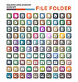 file folder icon with long shadow flat design vector image vector image