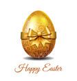 gold easter egg tied golden ribbon vector image vector image