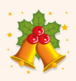 golden bell with red holly berry star christmas vector image