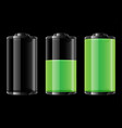 green battery on black background vector image