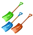 Green blue and red plastic dustpan isolated vector image vector image