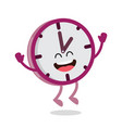 happy cartoon wall clock vector image vector image