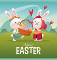 happy easter card couple bunny basket egg vector image