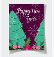 happy new year trees flower poinsettia decoration vector image