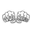 hard core words fist tattoo vector image