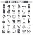 Hotel black icon set Dark grey classic vector image vector image