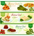 Italian cuisine dinner with fruit dessert banner vector image vector image