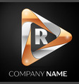 letter r logo symbol in the colorful triangle on vector image vector image