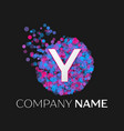 letter y logo with blue purple pink particles vector image vector image