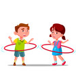 little boy and girl twirling colored huha hoops vector image vector image