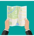 Paper Map In Hand vector image vector image