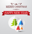 Retro Christmas Card with Trees on Paper vector image vector image