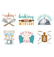 rolling pin wooden board whisk and mittens vector image vector image