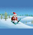 santa claus skiing in the snow hill with sack of g vector image vector image