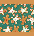 seamless holiday gingerbread man pattern vector image