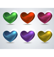 set of colored shiny hearts vector image vector image