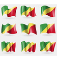 Set of Congo Republic flags in the air vector image vector image