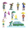 set of people struggling with bad weather vector image