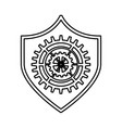 shield security with gear isolated icon vector image vector image