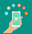 Smartphone apps infographics with a hand holding a vector image vector image