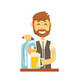 smiling bearded bartender man character standing vector image vector image