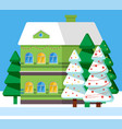 snowy house and fir-tree winter postcard vector image