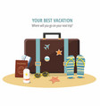 summer suitcase beach accessories vector image vector image
