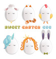sweet easter egg characters funny easter eggs vector image vector image